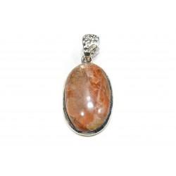 Pendentif argent 925 et pierre de soleil ovale 20x35 mm