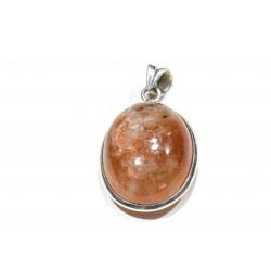 Pendentif argent 925 et pierre de soleil ovale 25x20 mm