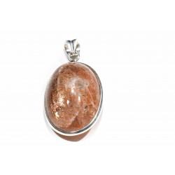 Pendentif argent 925 et pierre de soleil ovale 25x35 mm