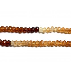 Fil 140pc env - Perles de Pierre - Grenat Hessonite Rondelles facettées 3x2mm