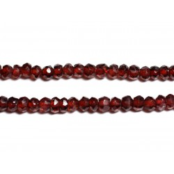 Fil 135pc env - Perles de Pierre - Grenat Mozambie Rondelles facettées 3x2mm