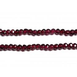 Fil 115pc env - Perles de Pierre - Grenat Rhodolite Rondelles facettées 3x2mm