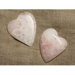 1pc - Pendentif Pierre , pierres semi précieuses, - Quartz Rose Coeur 53mm D12