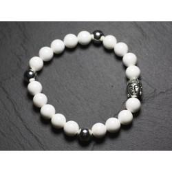 Bracelet Bouddha et Nacre Blanche 8mm