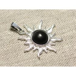 Pendentif Argent 925 et Pierre - Soleil 28mm - Obsidienne noire arc en ciel rond 10mm