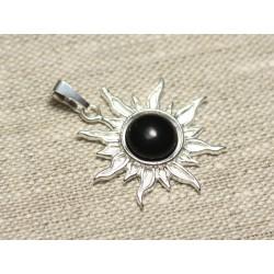 Pendentif Argent 925 et Pierre - Soleil 28mm - Obsidienne Noire rond 10mm