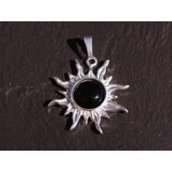 Pendentif Argent 925 et Pierre - Soleil 28mm - Onyx Noir rond 10mm