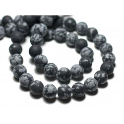10pc - Perles de Pierre - Obsidienne Flocon de neige Mouchetée Boules 8mm Mat Sablé Givré - 8741140022324