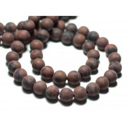 10pc - Perles de Pierre - Obsidienne Marron Acajou Mahogany Boules 8mm Mat Sablé Givré - 8741140022331
