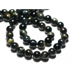 4pc - Perles de Pierre - Oeil de Faucon et Tigre Boules 8mm - 8741140022348