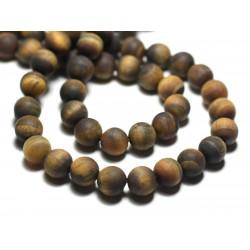 10pc - Perles de Pierre - Oeil de Tigre Boules 8mm Mat Sablé Givré - 8741140022355