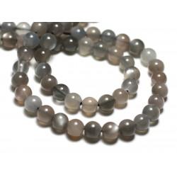 5pc - Perles de Pierre - Pierre de Lune Boules 6mm Blanc Gris Rose irisé - 8741140022379