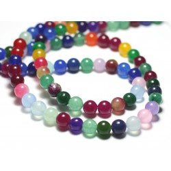 10pc - Perles de Pierre - Jade Boules 8mm Multicolore - 8741140022478