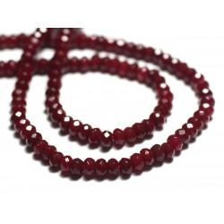 30pc - Perles de Pierre - Jade Rondelles Facettées 4x2mm Rouge Bordeaux - 8741140022485
