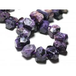 1pc - Perle de Pierre - Charoïte Nugget Rectangle Facetté 18x13-15mm Violet Mauve Noir - 8741140022201