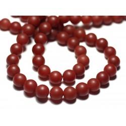 10pc - Perles de Pierre - Cornaline Boules 8mm Mat Sablé Givré - 8741140022218