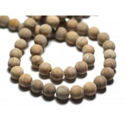 10pc - Perles de Pierre - Jaspe Bois Beige Jaune Boules 8mm Mat Sablé Givré - 8741140022232