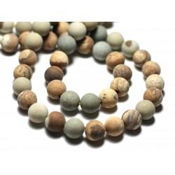10pc - Perles de Pierre - Jaspe Paysage Beige Jaune Gris Boules 8mm Mat Sablé Givré - 8741140022249