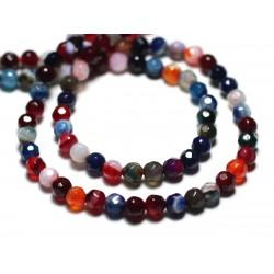 20pc - Perles de Pierre - Agate Boules facettées 4mm Multicolore - 8741140022089