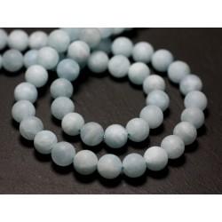 10pc - Perles de Pierre - Aigue Marine Boules 6mm Mat Sablé Givré - 8741140022096