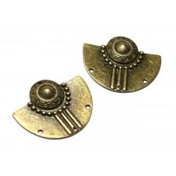 2pc - Connecteurs Perles Pendentifs Boucles d'oreilles Métal Bronze Demi Lune Aztèque Ethnique 37mm - 8741140021112