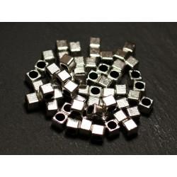 40pc - Perles Métal argenté Cubes 4mm gros trou 2.5mm - 8741140021174