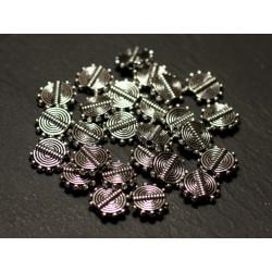 20pc - Perles Métal argenté Palets 10mm Spirale Ethnique Points - 8741140021204