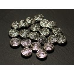10pc - Perles Métal argenté Palets 10mm Fleur Etoile Cercles Ethnique - 8741140021211