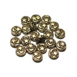 10pc - Perles Métal Bronze Palets 9mm Lune Etoile - 8741140021181