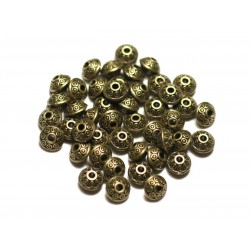 40pc - Perles Métal Bronze Rondelles Toupies 7x5mm Cercles Ronds Ethnique - 8741140021198