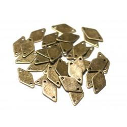 10pc - Connecteurs Perles Pendentifs Boucles d'oreilles Métal Bronze Losanges 15mm - 8741140021129
