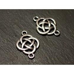 10pc - Connecteurs Perles Pendentifs Boucles d'oreilles Métal Argenté Noeuds Celtiques 25mm - 8741140021143