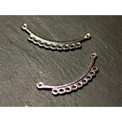 10pc - Connecteurs Perles Pendentifs Colliers Métal Argenté Plastron 37mm - 8741140021082