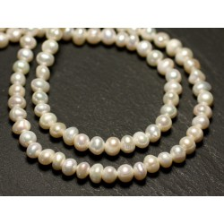 10pc - Perles Culture Eau Douce Boules 4-5mm Blanc irisé - 8741140020924