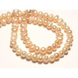 10pc - Perles Culture Eau Douce Boules 4-5mm Rose clair Pastel irisé - 8741140020931