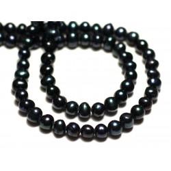 10pc - Perles Culture Eau Douce Boules 4-5mm Noir irisé - 8741140020948