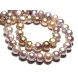 6pc - Perles Culture Eau Douce Boules 8-10mm Rose clair Mauve Pastel irisé - 8741140020979