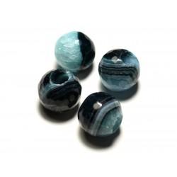 1pc - Perle de Pierre - Agate Bleue et Quartz Boules Facettées 14mm gros trou 5mm - 8741140020696