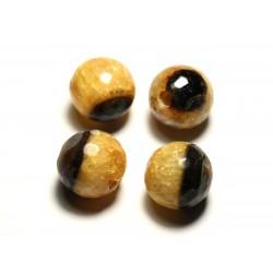 1pc - Perle de Pierre - Agate et Quartz Boules Facettées 14mm gros trou 5mm jaune orange safran - 8741140020702