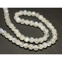 2pc - Perles de Pierre - Pierre de Lune arc en ciel Boules Facettées 4-5mm - 8741140020283