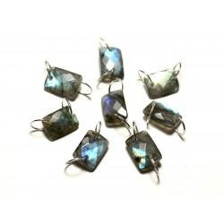 1pc - Perle Connecteur Pierre et Argent 925 - Labradorite Rectangle Facetté 12x8mm - 8741140019966