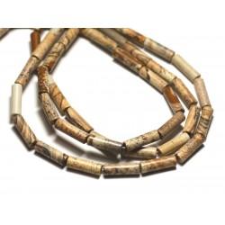 4pc - Perles de Pierre - Jaspe Paysage Beige Tubes 13x4mm - 8741140019836