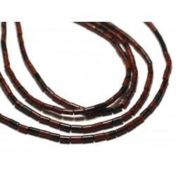 20pc - Perles de Pierre - Obsidienne Marron Acajou Mahogany Tubes 4x2mm - 8741140019867