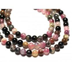 10pc - Perles de Pierre - Tourmaline Multicolore Boules 6mm - 8741140019881