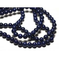 20pc - Perles de Pierre - Jade Boules 6mm Bleu Marine Nuit - 8741140019904
