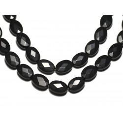 2pc - Perles de Pierre - Onyx noir mat sablé givré Ovales Facettés 14x10mm - 8741140019591
