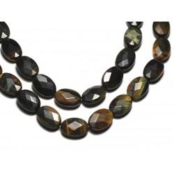 2pc - Perles de Pierre - Oeil de Tigre et Faucon Ovales Facettés 14x10mm - 8741140019607