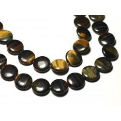 2pc - Perles de Pierre - Oeil de Tigre et Faucon Palets 16mm - 8741140019706