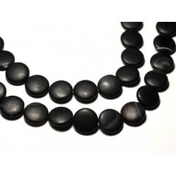 2pc - Perles de Pierre - Onyx noir mat sablé givré Palets 16mm - 8741140019713