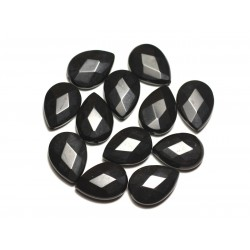 2pc - Perles de Pierre - Onyx noir mat sablé givré Gouttes Facettées 18x13mm - 8741140019676